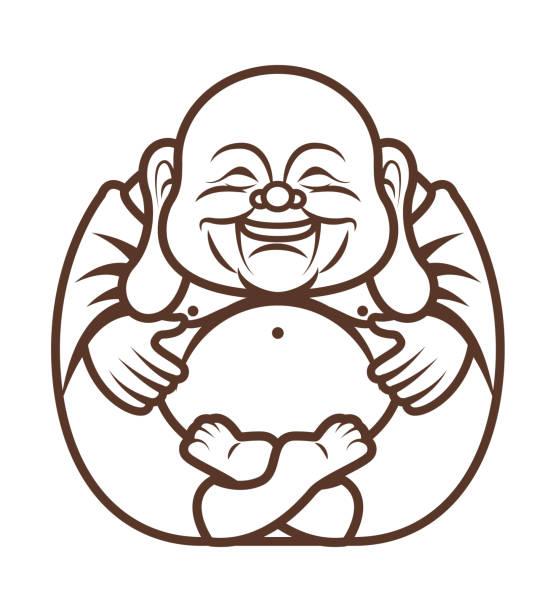 stockillustraties, clipart, cartoons en iconen met kleurboek. leuke mollige gelukkig lachende boeddha karakter cartoon. vector cartoon illustratie. religie - boeddha