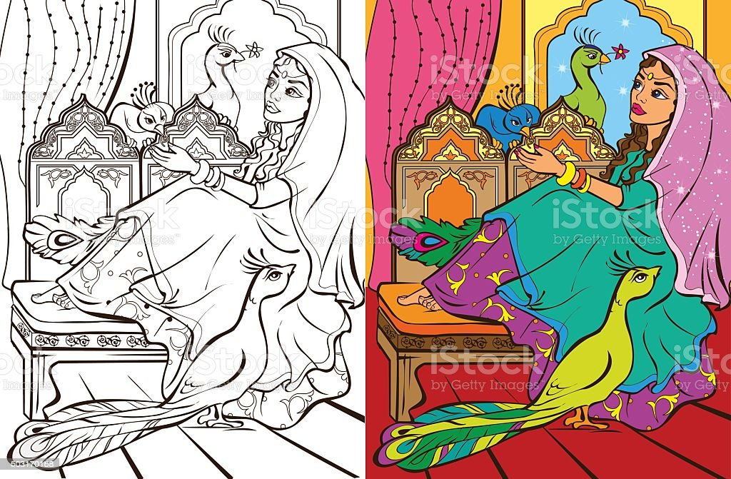 Colouring Book Of Easten Princess vector art illustration
