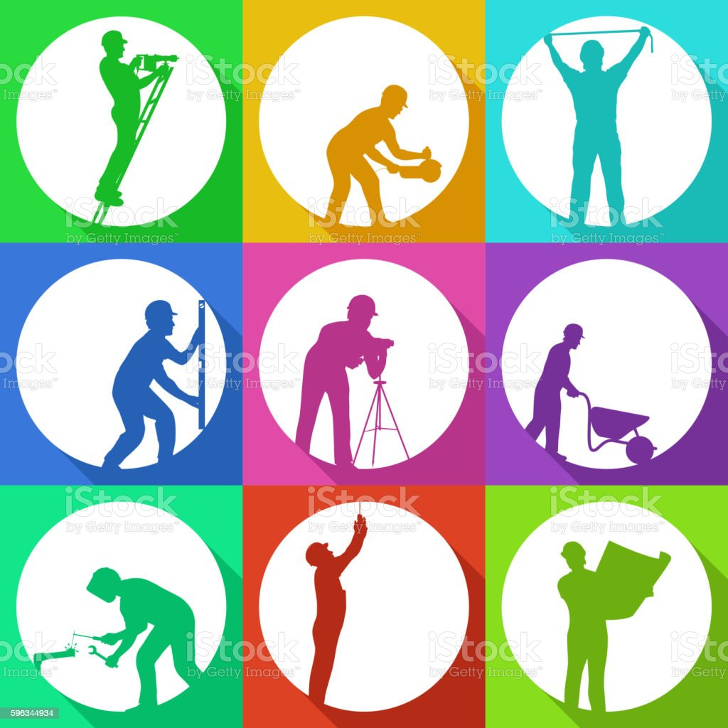colred set builders royalty-free colred set builders stock vector art & more images of activity