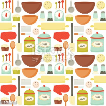 A seamless, retro-styled pattern filled with colorful tools and equipment need to bake yummy and delicious treats and desserts