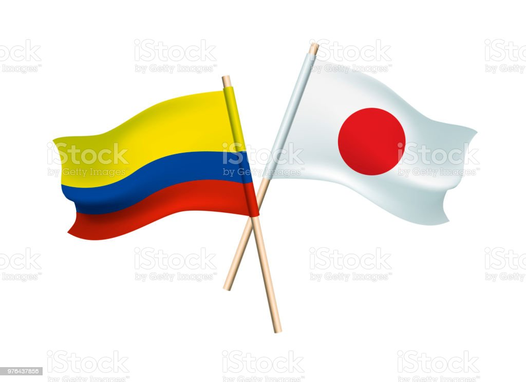 Columbia And Japan Flags On White Stock Vector Art More Images Of