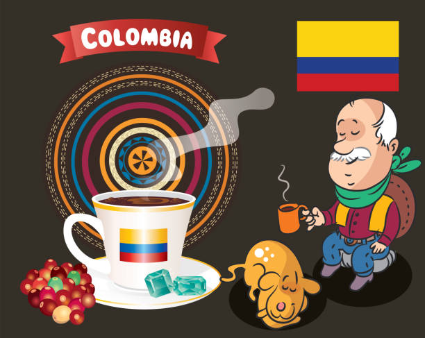 columbia kaffee - cartagena stock-grafiken, -clipart, -cartoons und -symbole