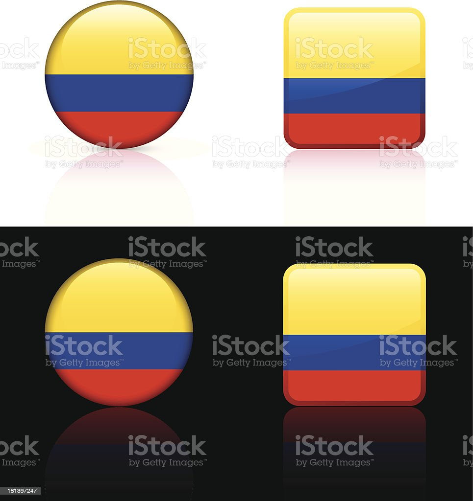 Columbia Flag Button Set royalty-free columbia flag button set stock vector art & more images of backgrounds