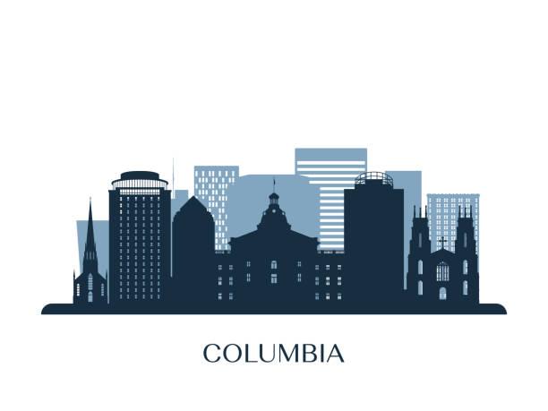 Columbia skyline, monochrome silhouette. Vector illustration. Columbia skyline, monochrome silhouette. Vector illustration. south carolina stock illustrations