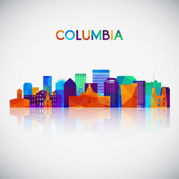 Columbia skyline silhouette in colorful geometric style. Symbol for your design. Vector illustration. Columbia skyline silhouette in colorful geometric style. Symbol for your design. Vector illustration. south carolina stock illustrations