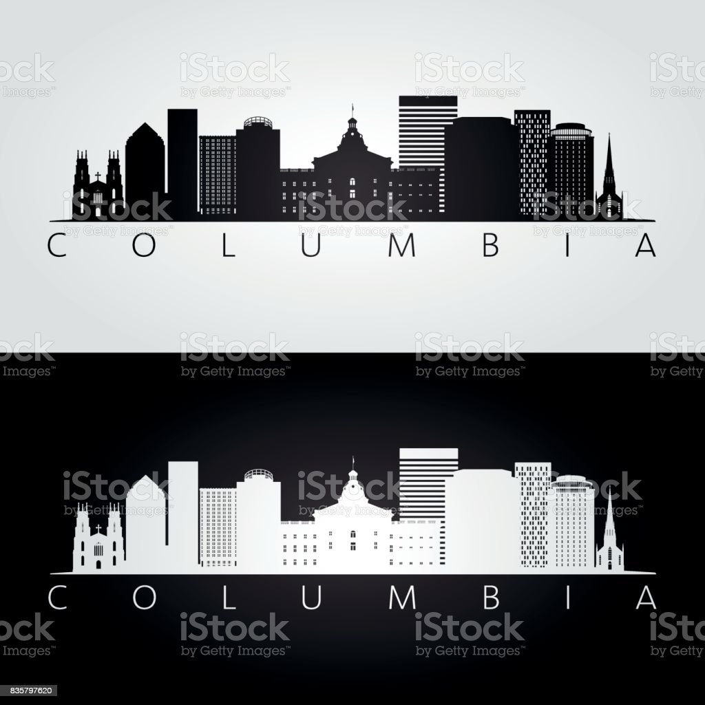 Columbia USA skyline and landmarks silhouette, black and white design, vector illustration. vector art illustration