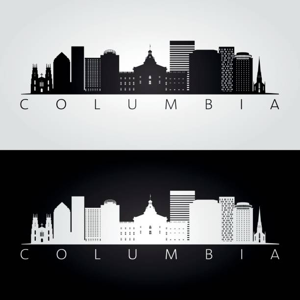 Columbia USA skyline and landmarks silhouette, black and white design, vector illustration. Columbia USA skyline and landmarks silhouette, black and white design, vector illustration. south carolina stock illustrations