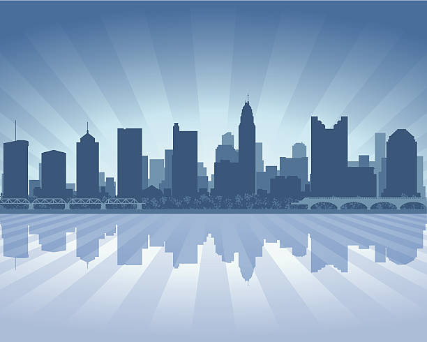 columbus city skyline silhouette - columbus day 幅插畫檔、美工圖案、卡通及圖標