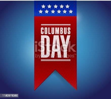 Columbus day banner sign illustration design over a blue background