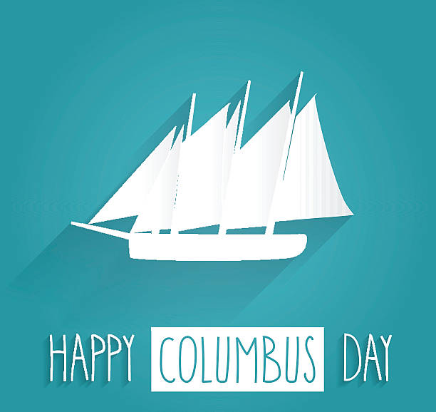 columbus day blue poster - columbus day stock illustrations