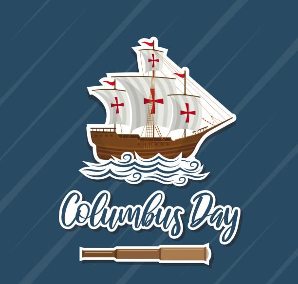 콜럼버스 데이 카드, 종이 기호. 벡터 - columbus day stock illustrations