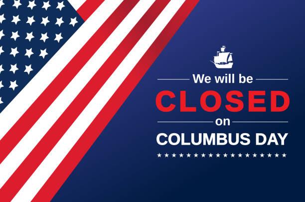 콜럼버스 데이 카드. 우리는 폐쇄 기호가됩니다. 벡터 - columbus day stock illustrations