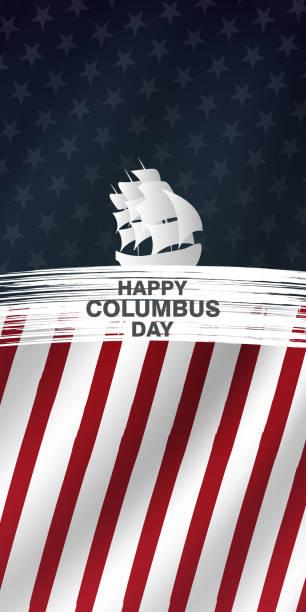 columbus günü ulusal abd tatil tebrik kartı, amerika birleşik devletleri ulusal tatil vektör illüstrasyon. - columbus day stock illustrations