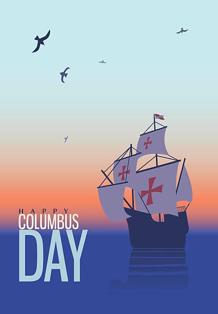 columbus day. old schooner. santa maria. greetings card - columbus day stock illustrations