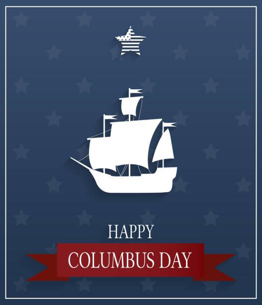 보트와 파란색 배경에 콜럼버스의 날 포스터입니다. 벡터 일러스트입니다. - columbus day stock illustrations