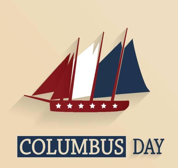 콜럼버스의 날 포스터입니다. 빨강, 백색 및 파랑 색된 배입니다. 벡터 - columbus day stock illustrations
