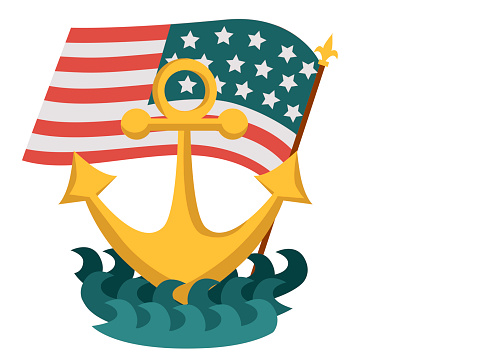 Columbus Day Poster With Anchor And American Flag Stock ...