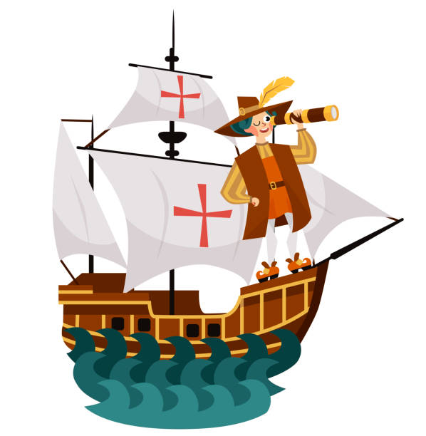 columbus day poster with columb looking at spyglass - columbus day stock illustrations