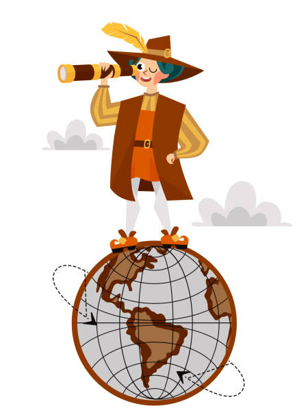 columbus day poster with columb on globe - columbus day stock illustrations