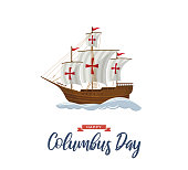 Columbus Day poster with sailing ship and waves. Vector illustration. EPS10