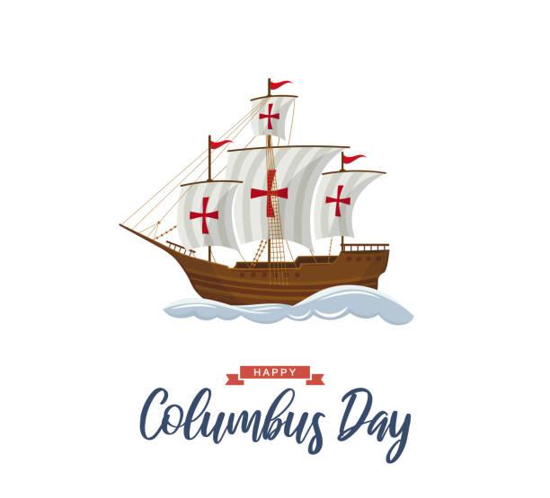 항해 선박과 파도와 콜럼버스의 날 포스터. 벡터 - columbus day stock illustrations