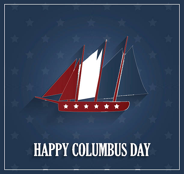 columbus day poster with ship on blue background - columbus day stock illustrations
