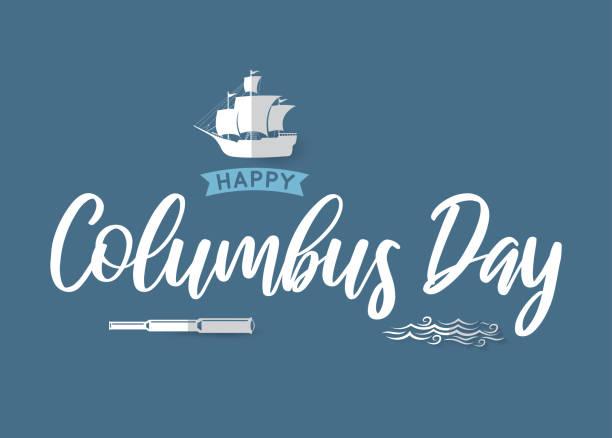 배, 망원경과 파도와 콜럼버스의 날 포스터. 벡터 - columbus day stock illustrations