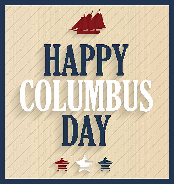 columbus day retro poster with ship - columbus day stock illustrations