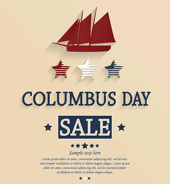 콜럼버스 day sale 카드 - columbus day stock illustrations