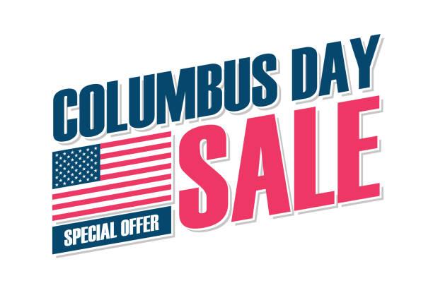 usa 콜럼버스 데이 세일 스페셜 오퍼 배너에는 비즈니스, 프로모션 및 할인 쇼핑을 위한 미국 국기가 있습니다. 미국 휴일 판매. - columbus day stock illustrations