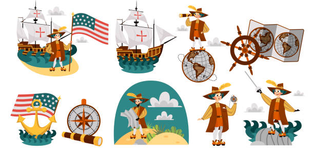 columbus day set with ship map helm compass symbols - columbus day stock illustrations