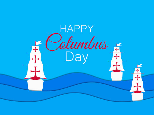 columbus day, the discoverer of america. paper cut 3d waves. vector illustration - columbus day stock illustrations