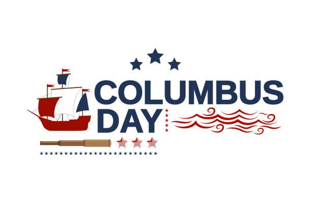 배, 망원경, 파도와 콜럼버스의 날 화이트 배너. 벡터 일러스트입니다. - columbus day stock illustrations