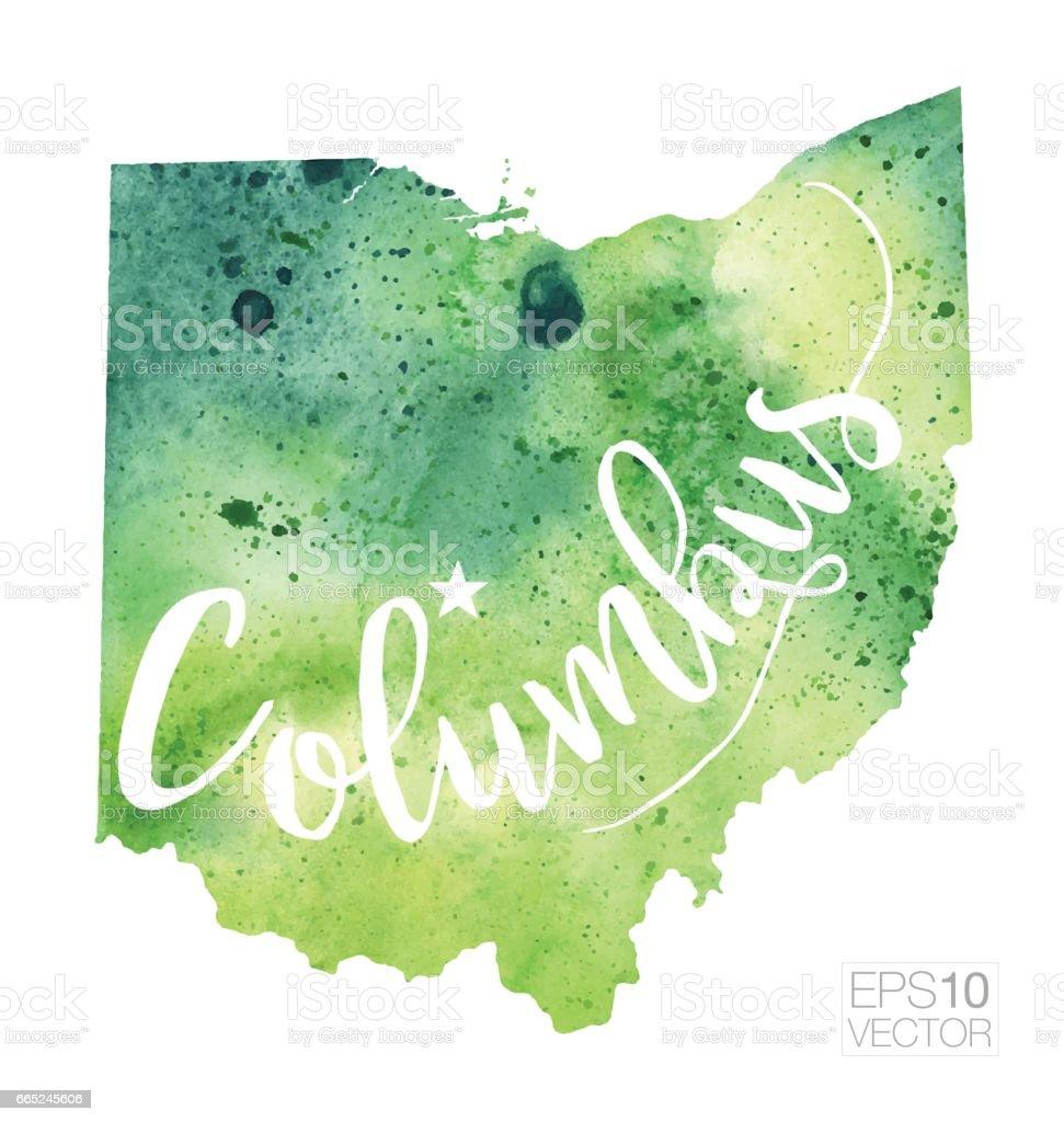 Columbus Ohio Usa Vector Watercolor Map stock vector art 665245606