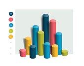 3D colummn chart, graph. Simply color editable. Infographics elements.