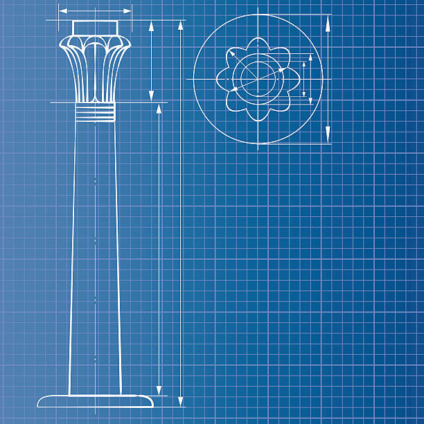 Column blueprint Column blueprint romanesque stock illustrations