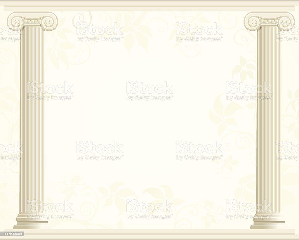 Column Border with Ivy Background vector art illustration