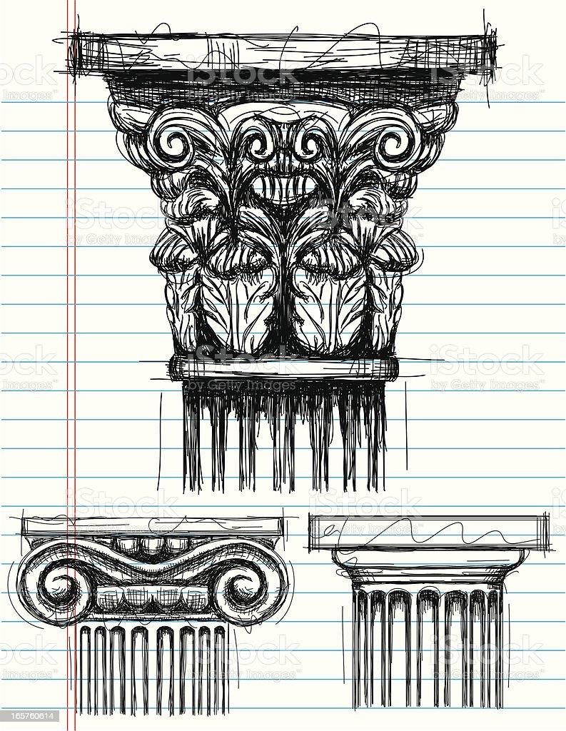 Column Capital Sketches Royalty Free Stock Vector Art
