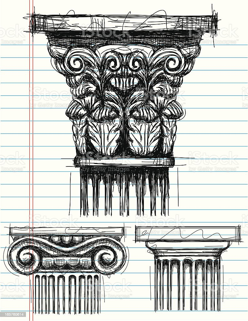 Column Capital sketches vector art illustration