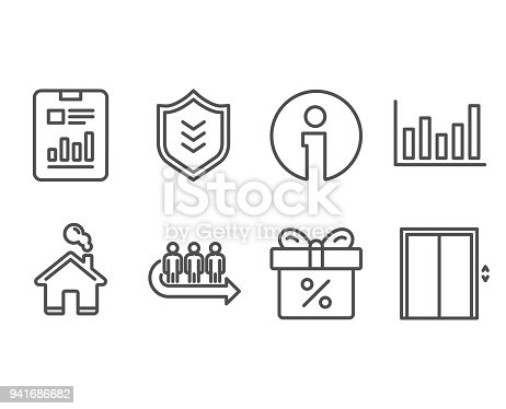 Column chart report document and discount offer icons shield queue column chart report document and discount offer icons shield queue and lift signs stock vector art more images of accountancy 941686682 istock ccuart Images
