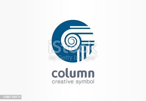 Column creative symbol concept. Capital antique pillar abstract business architect order pictogram. Ancent museum, bank, library, theater, justice icon. Corporate identity sign, company graphic design
