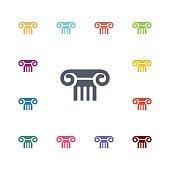 column flat icons set
