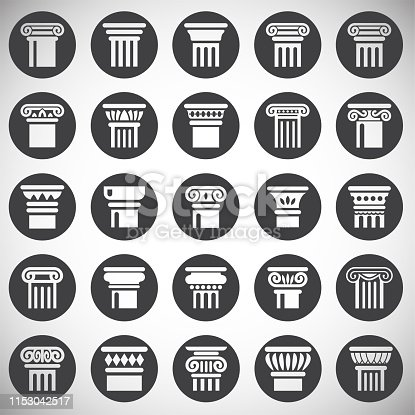 Column icons set on background for graphic and web design. Simple illustration. Internet concept symbol for website button or mobile app
