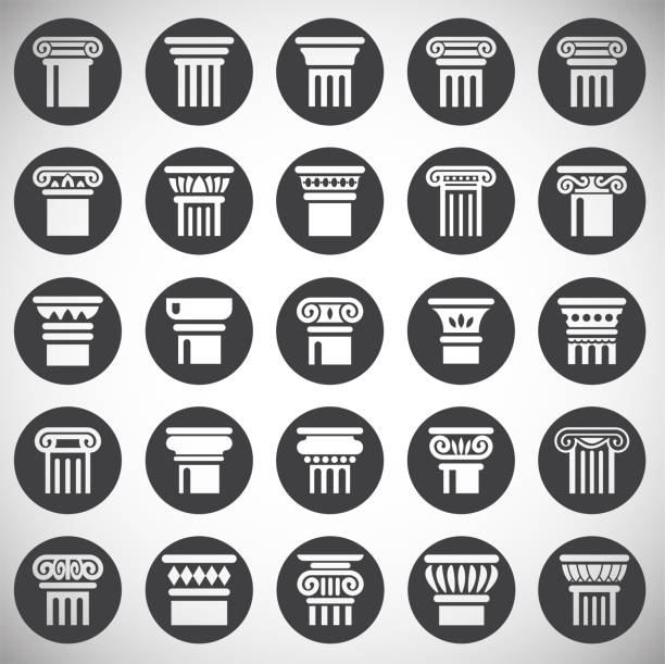 illustrations, cliparts, dessins animés et icônes de icônes de colonne définies sur le fond pour la conception graphique et web. illustration simple. symbole de concept internet pour le bouton de site web ou l'application mobile. - rome