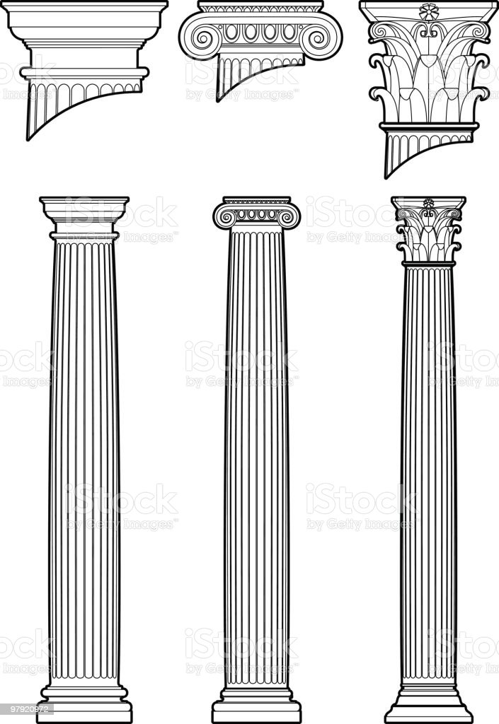Column styles vector art illustration