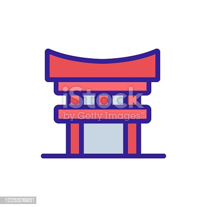 columned sacred temple icon vector. columned sacred temple sign. color symbol illustration