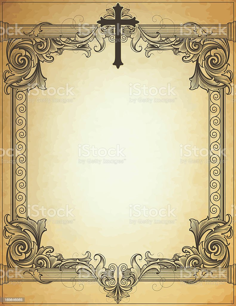 Columns and Cross on Parchment royalty-free columns and cross on parchment stock vector art & more images of 19th century style
