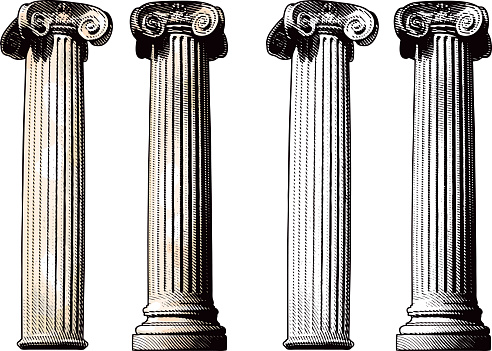 Engraving-style illustration of two classical columns with a very authentic feel. They make great design elements.