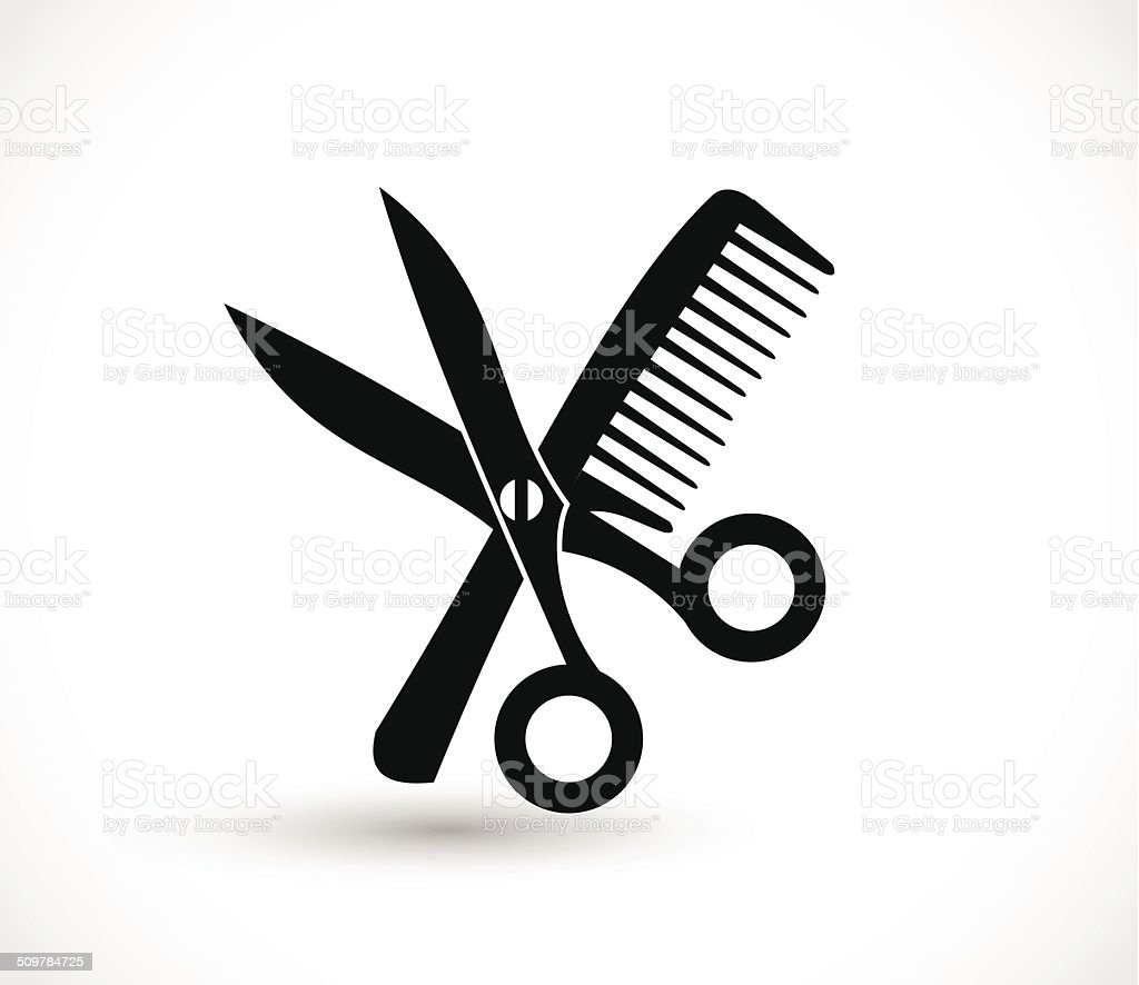 Comb and scissors icon vector vector art illustration