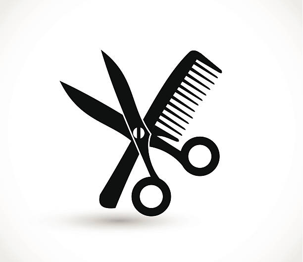 comb and scissors icon vector - beauty salon stock illustrations, clip art, cartoons, & icons